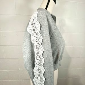 Forever 21 Heather Gray Cropped Sweatshirt Lace